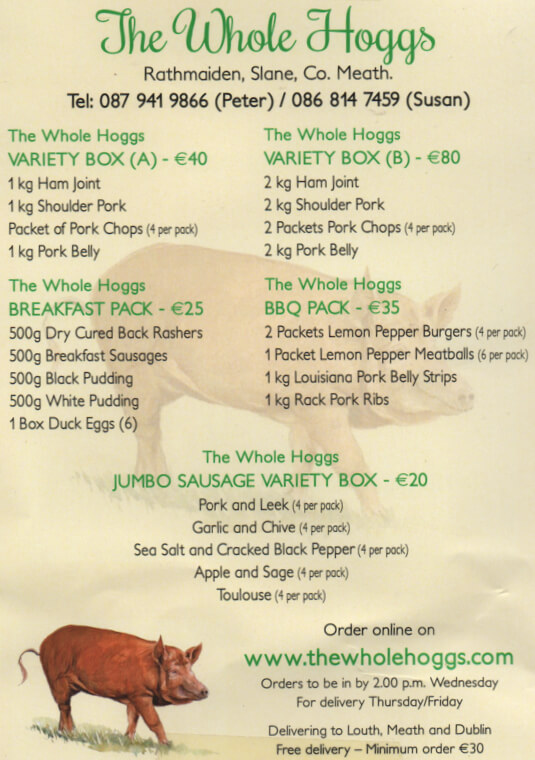 The Whole Hoggs Home Delivery Menu